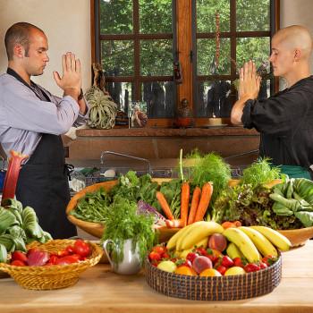 upaya monks praying meal