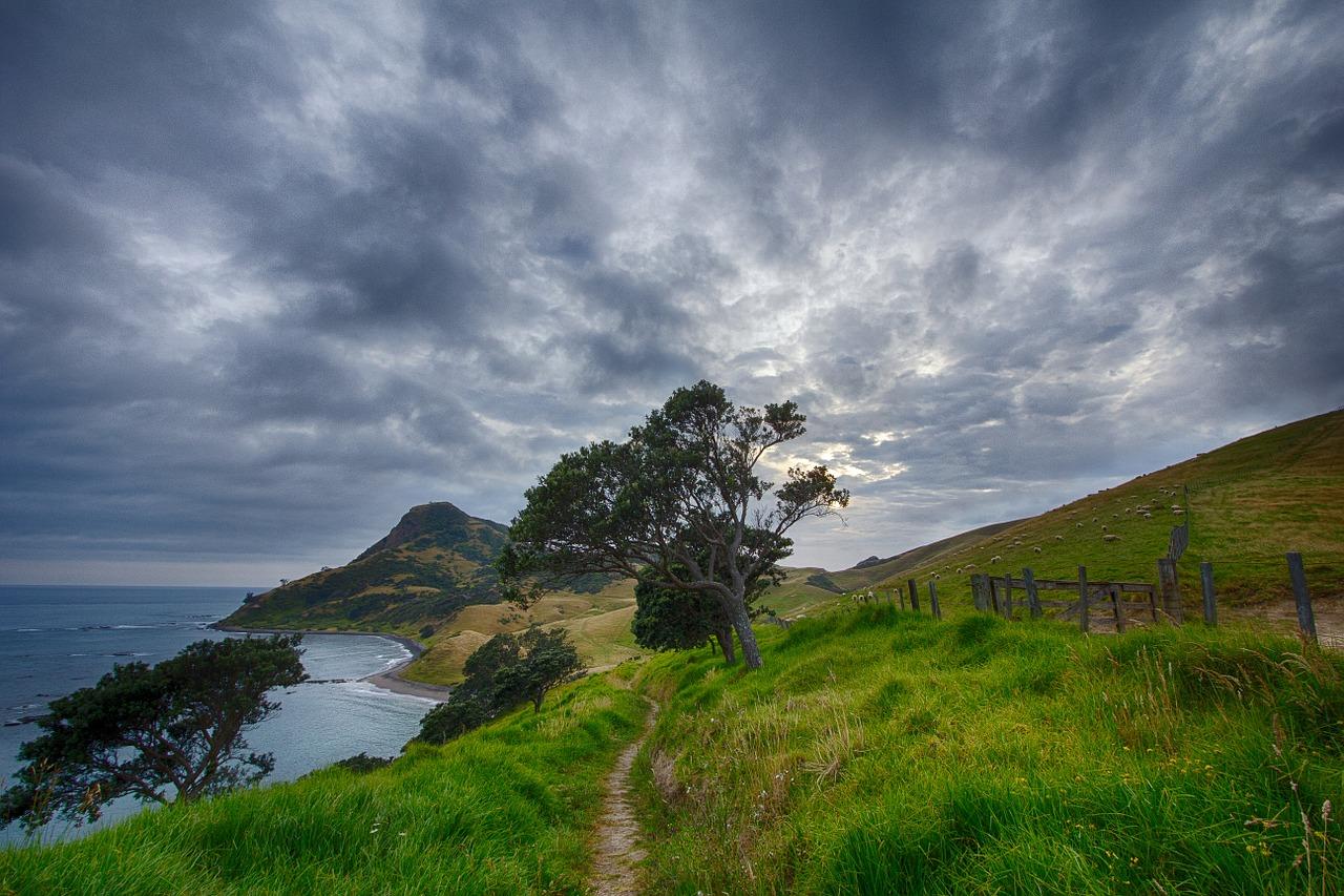 path, hill, clouds