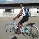 Jenipher Sanni on a bicycle