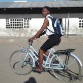 Jenipher Sanni on a bicycle
