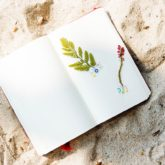 Blank journal on sand. Pages with leaves.