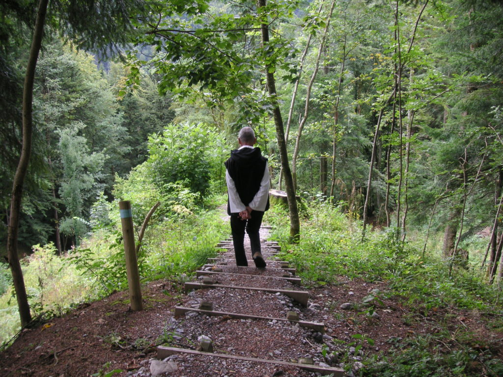 Br. David walking down a path in St. Gerold, Switzerland. 2009 Photo by Verena Kessler