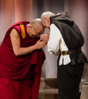His Holiness Dalai Lama exchanges bows with Catholic Benedictine monk David Steindl-Rast at Marriott Copley Boston, Boston, MA