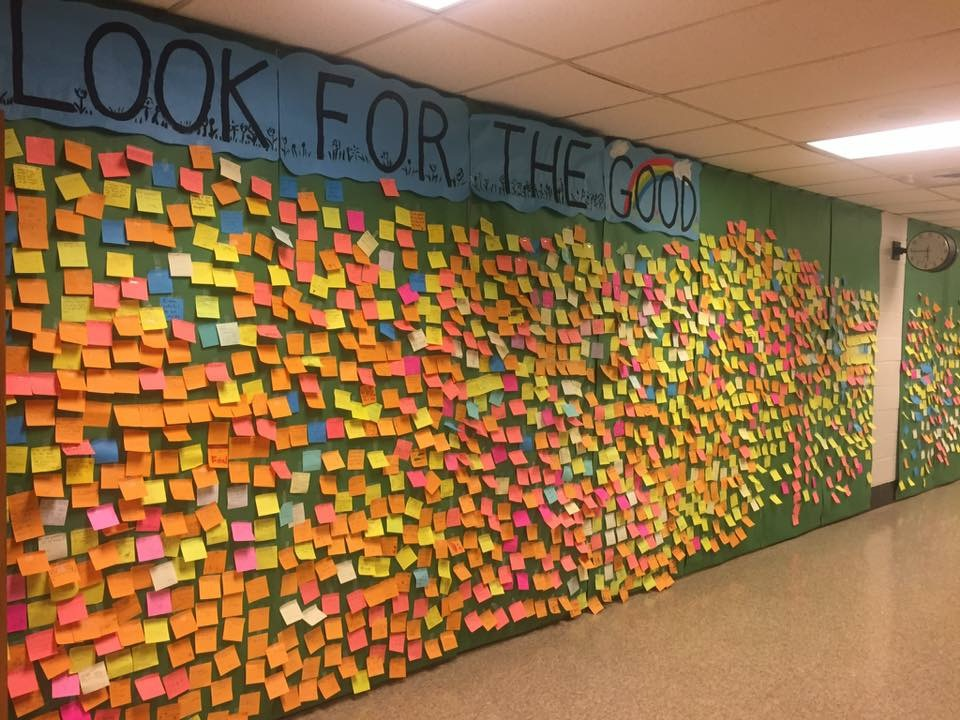 Look for the Good Project - Post-It notes lining a wall
