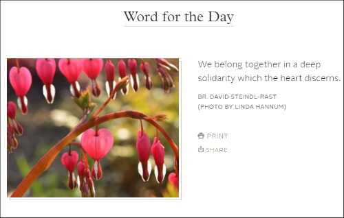 Word for the Day Example from Gratefulness.org