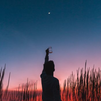 sillouhette of a person holding a mason jar into the sky at dusk